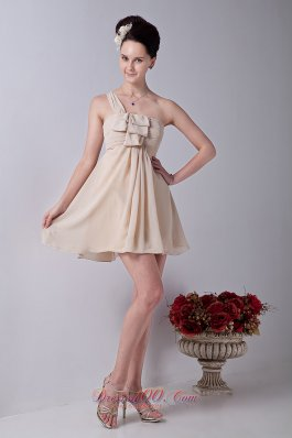 One Shoulder Mini-length Bridesmaid Dress Ruched