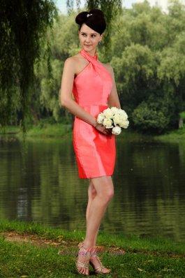 High-neck Mini-length Watermelon Prom Dress