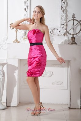 Hot Pink Column Strapless Dress for Cocktail Sash Colored
