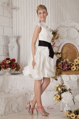 White One Shoulder Short Graduation Gown Sash Bows