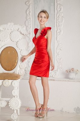 Crismon Red Halter Short Prom Cocktail Dress Ruch