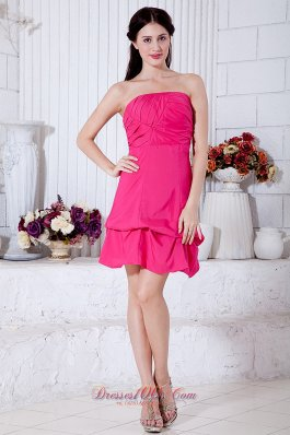Rose Pink Strapless Mini Cocktail Dress Ruch