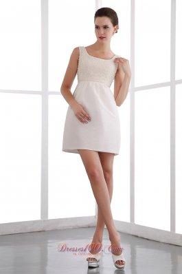 White Square Cocktail Minidress Straps Beading Custom