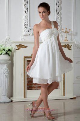 White Empire Cocktail Dress One Shoulder Appliques Ruch