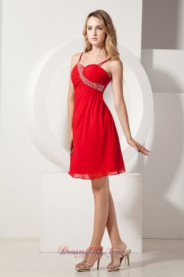 Red Spaghetti Straps Prom Dress Knee-length Beading