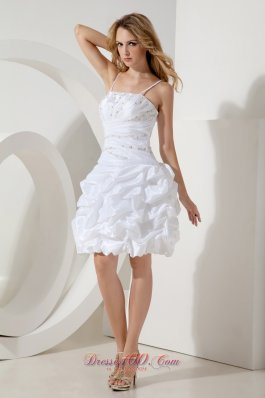 White Spaghetti Straps Cocktail Dress Puffy Skirt Beading
