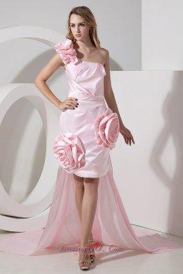 Baby Pink Detachable Hi-Lo Prom Cocktail Dress One Shoulder