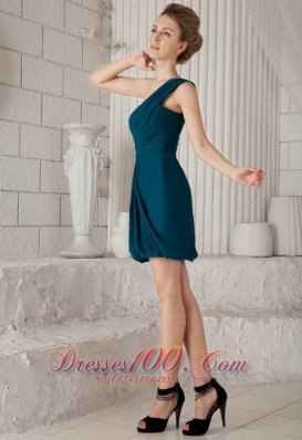 Teal Column One Shoulder Prom Dress Mini-length Chiffon