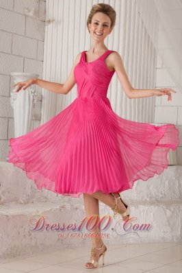 Straps Tea-length Pleated Homecoming Dama Dress