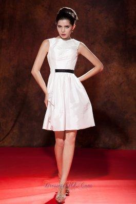 White Princess Bateau Mini-length Cocktail Prom Dress