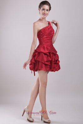 Red One Shoulder Mini-length Prom dress for cocktail