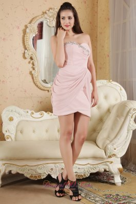 Baby Pink mini length Beading Cocktail Prom Dress