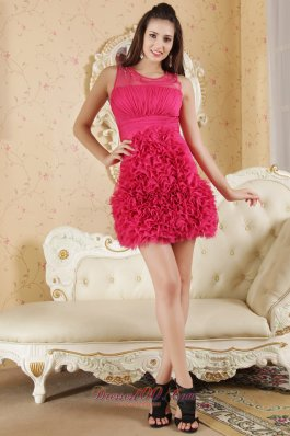 Ruffled Hot Pink Scoop Mini-length Cocktail Prom Dress