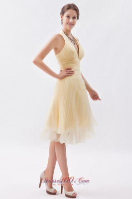 Halter Top Daffodil Prom Dress Knee-length Cocktail Dress