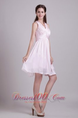 Baby Pink V-neck Short Chiffon Ruch Prom Dress
