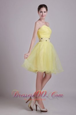 Yellow A-line Sweetheart Short Ruch Prom/Cocktail Dress
