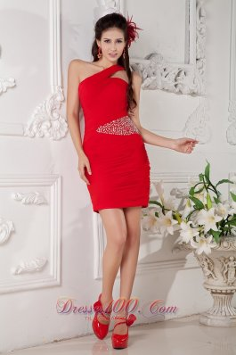 Red Column One Shoulder Mini-length Prom Nightclub Dress