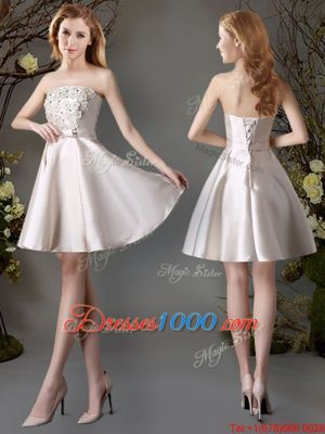 Beautiful Champagne Lace Up Wedding Guest Dresses Appliques and Bowknot Sleeveless Mini Length