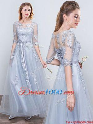 Elegant Scoop Short Sleeves Grey Half Sleeves Floor Length Appliques and Belt Lace Up Bridesmaids Dress