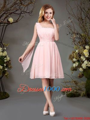 One Shoulder Pink Sleeveless Chiffon Zipper Wedding Party Dress for Prom and Party and Wedding Party
