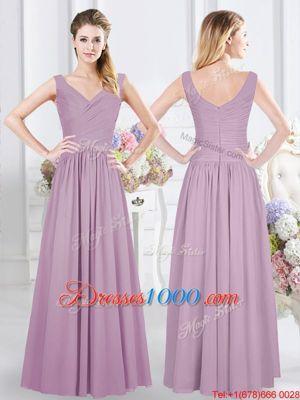 Admirable Lavender Chiffon Zipper Wedding Guest Dresses Sleeveless Floor Length Ruching