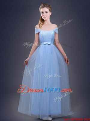 Off the Shoulder Light Blue Sleeveless Floor Length Ruching and Bowknot Lace Up Wedding Party Dress