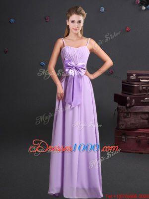 Floor Length Empire Sleeveless Lavender Wedding Party Dress Zipper