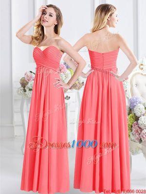 Beautiful Watermelon Red Zipper Sweetheart Ruching Bridesmaid Dresses Chiffon Sleeveless