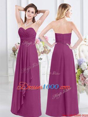 Affordable Fuchsia Chiffon Zipper Wedding Party Dress Sleeveless Floor Length Ruching