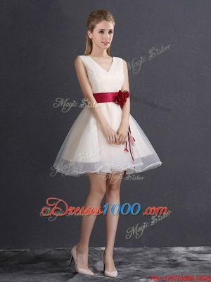 Hand Made Flower Wedding Guest Dresses Champagne Lace Up Sleeveless Mini Length
