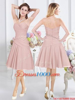Fabulous Sleeveless Knee Length Ruching Zipper Wedding Party Dress with Pink