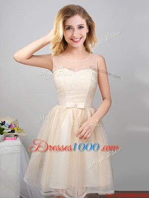 Best Champagne A-line Scoop Sleeveless Tulle Mini Length Lace Up Lace and Appliques and Belt Wedding Guest Dresses