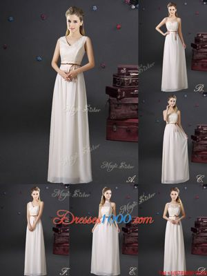 Low Price White Bridesmaids Dress Prom and Party and Wedding Party and For with Lace and Appliques and Belt V-neck Sleeveless Lace Up