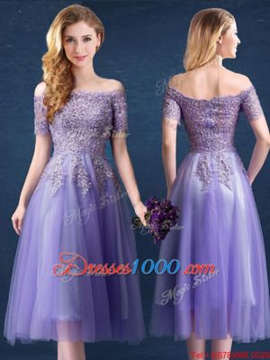 Customized Off the Shoulder Beading and Lace Bridesmaid Dresses Lavender Zipper Short Sleeves Tea Length
