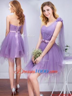 One Shoulder Sleeveless Ruffles and Ruching and Belt and Hand Made Flower Lace Up Wedding Guest Dresses