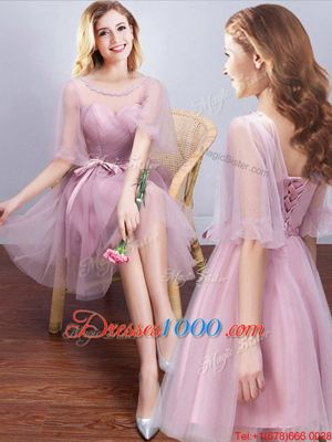 Lovely Scoop Mini Length A-line Half Sleeves Pink Wedding Party Dress Lace Up