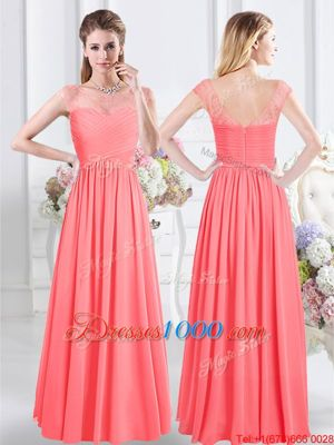 Deluxe Chiffon Scoop Cap Sleeves Zipper Lace and Ruching Bridesmaid Dresses in Watermelon Red