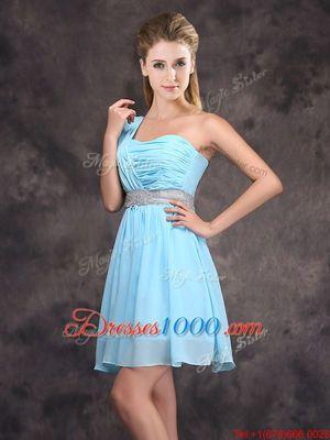 Glittering Baby Blue Chiffon Zipper One Shoulder Sleeveless Mini Length Bridesmaids Dress Sequins and Ruching