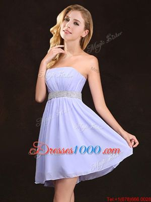 Glamorous Lavender Zipper Strapless Sequins and Ruching Wedding Party Dress Chiffon Sleeveless