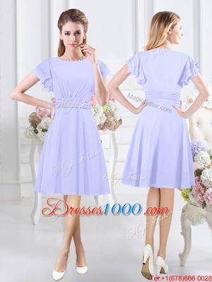 Chic Lavender Chiffon Side Zipper Scoop Short Sleeves Knee Length Wedding Party Dress Ruching
