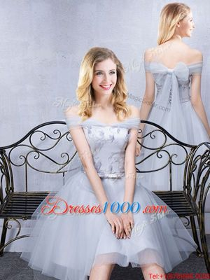 Smart Short Sleeves Grey Off The Shoulder Lace Up Lace and Appliques and Belt Bridesmaids Dress Sleeveless