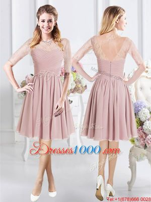 Pretty Pink Bridesmaid Gown Prom and Party and Wedding Party and For with Ruching and Bowknot Sweetheart Sleeveless Lace Up