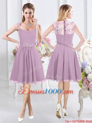 Lavender Zipper Straps Lace Wedding Party Dress Chiffon Cap Sleeves