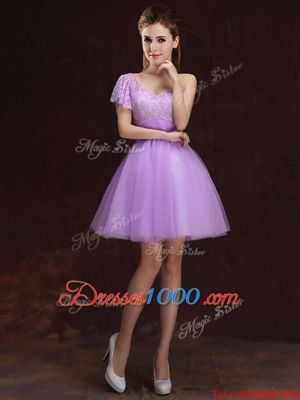 One Shoulder Lilac Sleeveless Mini Length Lace and Ruching Lace Up Bridesmaid Dress