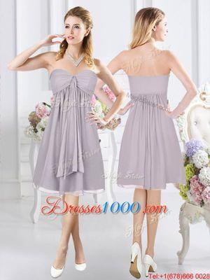 Captivating Knee Length Grey Wedding Guest Dresses Chiffon Sleeveless Ruching