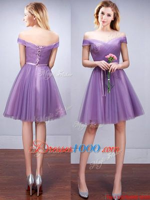 Extravagant Off The Shoulder Sleeveless Bridesmaids Dress Knee Length Ruching and Belt Lavender Tulle
