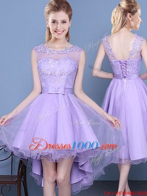 Scoop Mini Length Lavender Bridesmaid Dress Organza Sleeveless Lace
