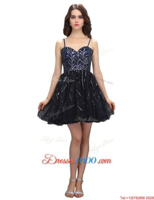 Inexpensive Black Organza Lace Up Homecoming Party Dress Sleeveless Mini Length Sequins