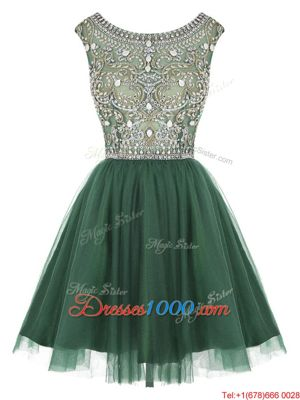 Scoop Sleeveless Prom Evening Gown Mini Length Beading and Appliques Peacock Green Tulle