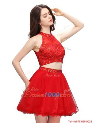 Customized Mini Length Coral Red Prom Gown High-neck Sleeveless Zipper